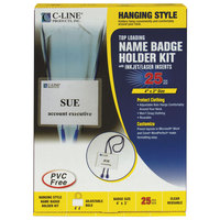 C-Line Products 96053 4 inch x 3 inch Clear Top Load Bolo Cord Name Badge Holder Kit with Inserts