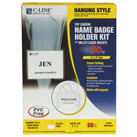 C-Line Products 96043 4 inch x 3 inch Clear Top Load Elastic Cord Name Badge Holder Kit with Inserts