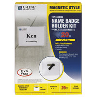 C-Line Products 92943 4 inch x 3 inch Clear Magnetic Name Badge Holder Kit with Inserts
