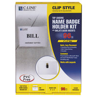 C-Line Products 95596 4 inch x 3 inch Clear Top Load Clip-On Name Badge Holder Kit with Inserts