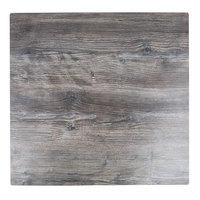 BFM Seating TRN3232DW Tribeca 32 inch x 32 inch Square Driftwood Composite Laminate Outdoor / Indoor Table Top with Flat Edge