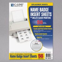 C-Line Products 92423 3 1/2 inch x 2 1/4 inch White Printable Name Badge Inserts - 56/Pack