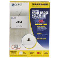 C-Line Products 95743 4 inch x 3 inch Clear Top Load Clip-On / Pin Name Badge Holder Kit with Inserts