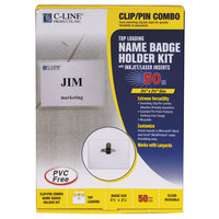 C-Line Products 95723 3 1/2 inch x 2 1/4 inch Clear Top Load Clip-On / Pin Name Badge Holder Kit with Inserts
