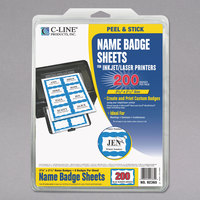 C-Line Products 92365 3 3/8 inch x 2 1/3 inch White Printable Adhesive Name Badge with Blue Border - 200/Pack