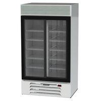 Beverage-Air MMR38HC-1-W MarketMax 43 1/2 inch White Two Section Glass Door Merchandiser Refrigerator - 35.37 Cu. Ft.