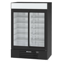 Beverage-Air MMR45HC-1-B MarketMax 52 inch Black Two Section Glass Door Merchandiser Refrigerator - 44 Cu. Ft.