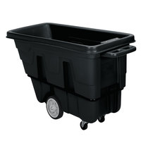 Continental 5845BK 0.625 Cubic Yard Black Tilt Truck / Trash Cart (1200 lb.)