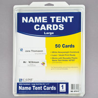C-Line 87517 11 inch x 4 1/4 inch White Scored Tent Card - 50/Box