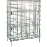 Metro SEC63C Chrome Stationary Wire Security Cabinet 38 1/2 inch x 33 1/2 inch x 66 13/16 inch