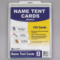 C-Line 87587 2 1/2 inch x 8 1/2 inch Embossed White Tent Card - 100/Box