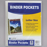 C-Line Products 57537 11 1/2 inch x 9 1/4 inch Clear Poly Binder Pocket - 5/Pack