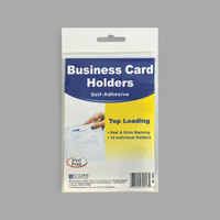 C-Line 70257 3 1/2 inch x 2 inch Clear Top Load Self-Adhesive Business Card Holder - 10/Pack