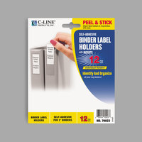 C-Line 70023 2 1/4 inch x 3 1/16 inch Clear Top Load Self-Adhesive Ring Binder Label Holder - 12/Pack