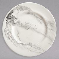Syracuse China 999533002 Smoke 9 inch Royal Rideau White / Black Swirl Porcelain Plate - 24/Case