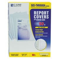 C-Line 32457 8 1/2 inch x 11 inch Clear Economy Vinyl Report Cover with Binding Bar   - 50/Box