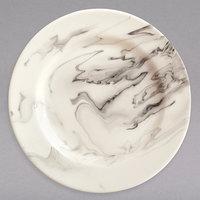 Syracuse China 999533001 Smoke 6 1/2 inch Royal Rideau White / Black Swirl Porcelain Plate - 36/Case