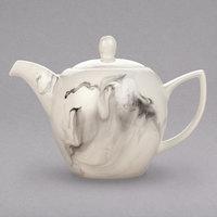 Syracuse China 999533017 Smoke 35 oz. Royal Rideau White / Black Swirl Porcelain Teapot - 12/Case