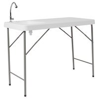 Flash Furniture DAD-PYZ-116-GG 23 inch x 45 inch Rectangular White Granite Plastic Folding Table with Sink and Faucet