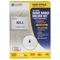 C-Line Products 95523 3 1/2 inch x 2 1/4 inch Clear Top Load Clip-On Name Badge Holder Kit with Inserts
