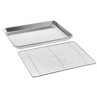 Baker's Mark 13 inch x 18 inch Half Size 19 Gauge Wire in Rim Aluminum Sheet Pan with 12 inch x 16 inch Half Size Footed Cooling Rack
