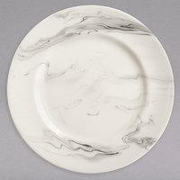 Syracuse China 999533003 Smoke 11 inch Royal Rideau White / Black Swirl Porcelain Plate - 12/Case