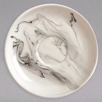Syracuse China 999533018 Smoke 6 inch Royal Rideau White / Black Swirl Porcelain Coupe Tea Saucer - 36/Case
