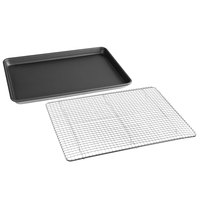 Half Size 18 Gauge Non-Stick 18 inch x 13 inch Wire in Rim Aluminum Sheet Pan with Half-Size 12 inch x 16 inch Footed Cooling Rack