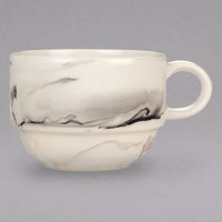 Syracuse China 999533016 Smoke 9.5 oz. Royal Rideau White / Black Swirl Porcelain Stackable Tea Cup - 36/Case
