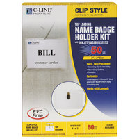 C-Line Products 95543 4 inch x 3 inch Matte Top Load Clip-On Name Badge Holder Kit with Inserts