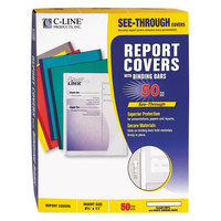 C-Line 32557 8 1/2 inch x 11 inch Clear Standard Vinyl Report Cover with Binding Bar - 50/Box
