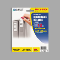 C-Line 70035 2 3/4 inch x 3 5/8 inch Clear Top Load Self-Adhesive Ring Binder Label Holder - 12/Pack