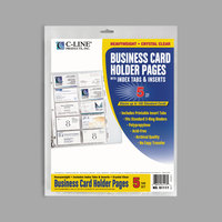 C-Line 61117 11 1/4 inch x 8 1/2 inch 20 Business Card Clear Polypropylene Binder Page with Clear Index Tabs - 5/Pack
