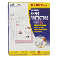 C-Line 62013 11 inch x 8 1/2 inch Heavyweight Top-Loading Clear Polypropylene Sheet Protector - 50/Box