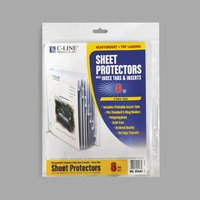 C-Line 05587 11 inch x 8 1/2 inch Heavyweight Top-Loading Clear Polypropylene Sheet Protector with Clear Index Tabs - 8/Set