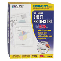 C-Line 62067 11 inch x 8 1/2 inch Economy Weight Top-Loading Clear Reduced Glare Polypropylene Sheet Protector - 200/Box