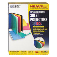 C-Line 62010 11 inch x 8 1/2 inch Heavyweight Top-Loading Assorted Color Polypropylene Sheet Protector   - 50/Box
