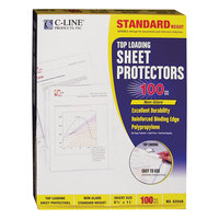 C-Line 62048 11 inch x 8 1/2 inch Standard Weight Top Loading Clear Non-Glare Polypropylene Sheet Protector - 100/Box