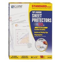 C-Line 62037 11 inch x 8 1/2 inch Standard Weight Top-Loading Clear Polypropylene Sheet Protector - 50/Box