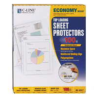C-Line 62017 11 inch x 8 1/2 inch Economy Weight Top-Loading Clear Reduced Glare Polypropylene Sheet Protector - 100/Box