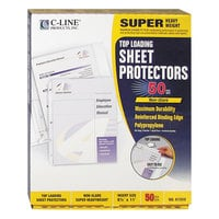 C-Line 61008 11 inch x 8 1/2 inch Super Heavyweight Top-Loading Clear Non-Glare Polypropylene Sheet Protector - 50/Box