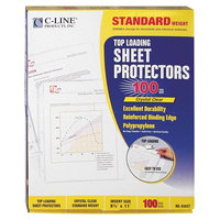 C-Line 62027 11 inch x 8 1/2 inch Standard Weight Top-Loading Clear Polypropylene Sheet Protector   - 100/Box