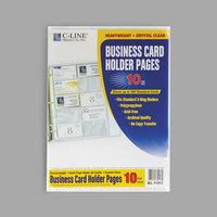 C-Line 61217 11 1/4 inch x 8 1/8 inch 20 Business Card Clear Polypropylene Binder Page   - 10/Pack