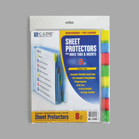 C-Line 05580 11 inch x 8 1/2 inch Heavyweight Top-Loading Clear Polypropylene Sheet Protector with Assorted Color Index Tabs   - 8/Set