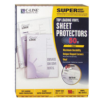 C-Line 61013 11 inch x 8 1/2 inch Super Heavyweight Top-Loading Clear Vinyl Sheet Protector - 50/Box