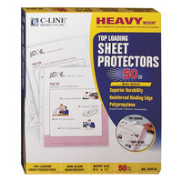 C-Line 62018 11 inch x 8 1/2 inch Heavyweight Top-Loading Clear Non-Glare Polypropylene Sheet Protector - 50/Box