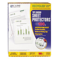 C-Line 62029 11 inch x 8 1/2 inch Standard Weight Top-Loading Clear Reduced Glare Polypropylene Recycled Sheet Protector   - 100/Box