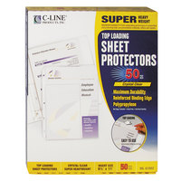 C-Line 61003 11 inch x 8 1/2 inch Super Heavyweight Top-Loading Clear Polypropylene Sheet Protector - 50/Box