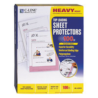 C-Line 62023 11 inch x 8 1/2 inch Heavyweight Top-Loading Clear Polypropylene Sheet Protector - 100/Box