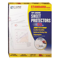 C-Line 62038 11 inch x 8 1/2 inch Standard Weight Top-Loading Clear Non-Glare Polypropylene Sheet Protector - 50/Box